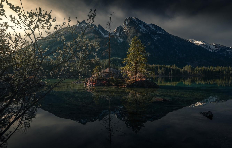 Photo wallpaper mountains, nature, lake, spring, Germany