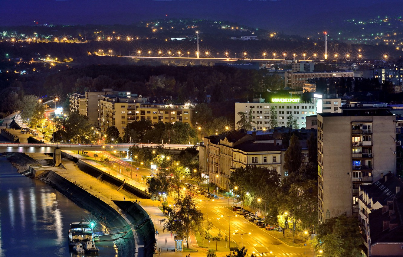 Photo wallpaper Home, Road, Night, Street, Serbia, River, Novi Sad, Street lights