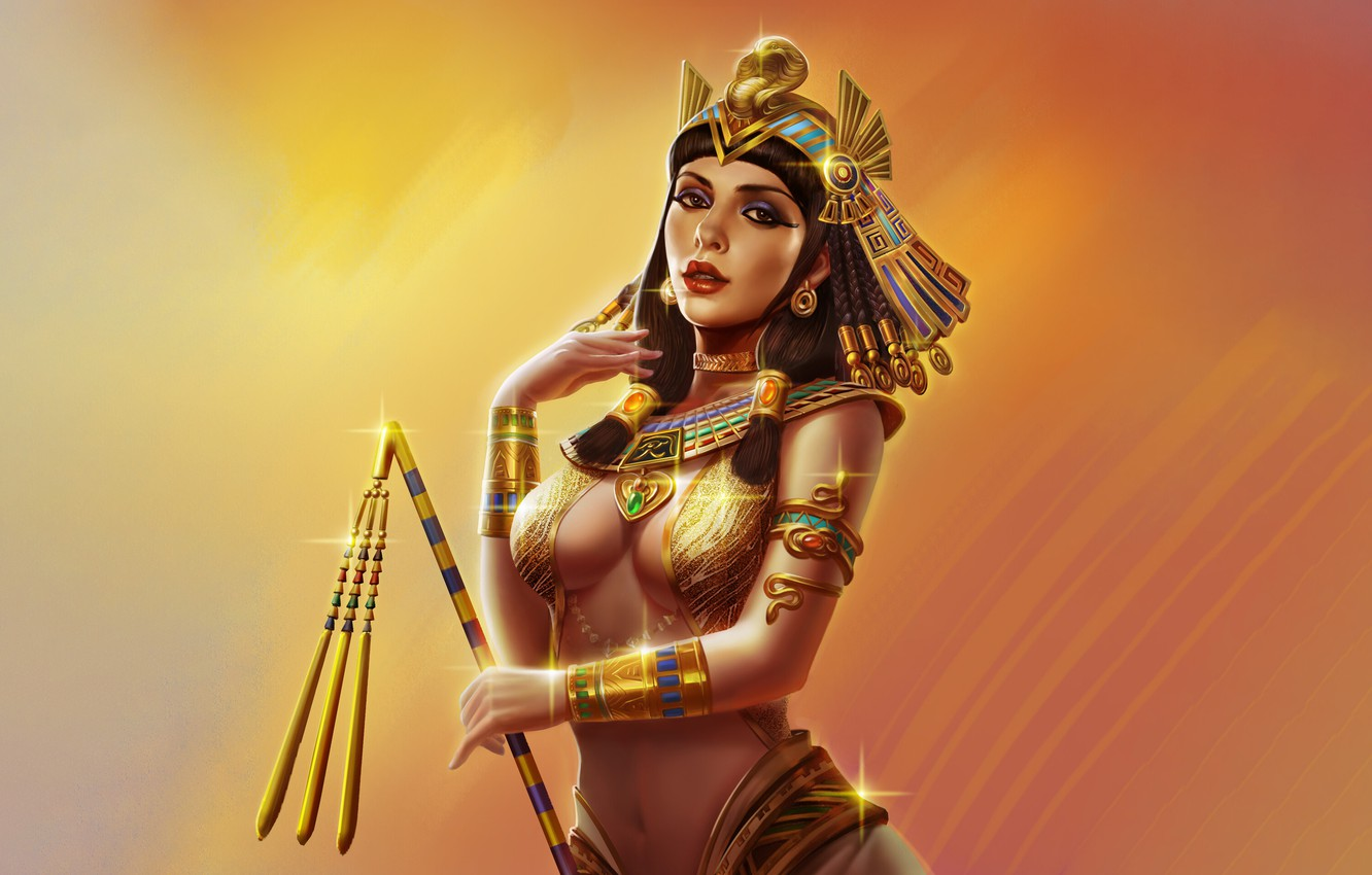 Photo wallpaper Girl, Look, Egypt, Decoration, Art, Gold, Queen, Beautiful, Shine, Cleopatra, Cleopatra, Queen, by Lv bowen, …