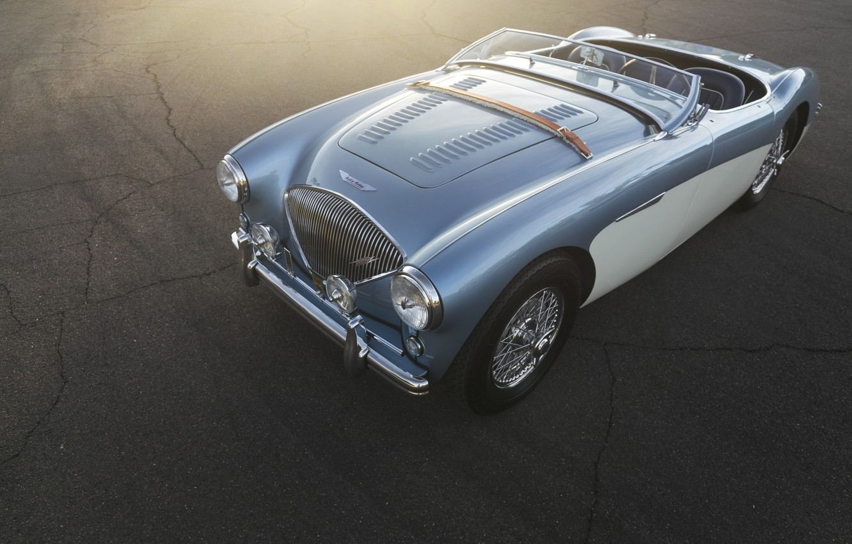 Photo wallpaper car, blue, retro, austin-healey 100M