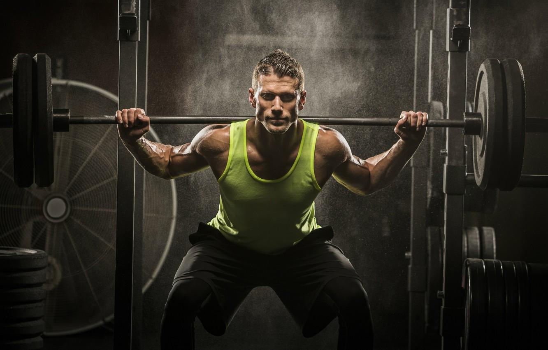 Photo wallpaper muscle, rod, pose, training, athlete, workout, gym, fitness, gym, bodybuilder, crossfit, bodybuilder