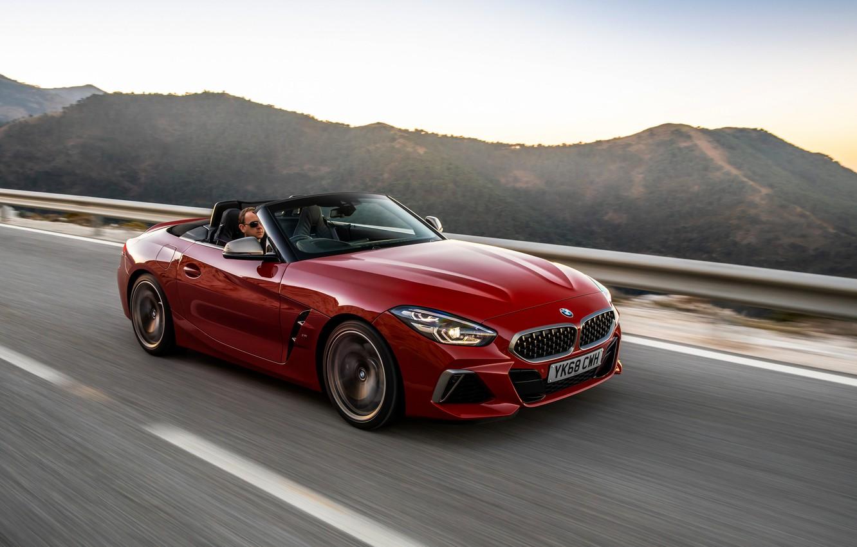 Photo wallpaper red, movement, BMW, Roadster, BMW Z4, M40i, Z4, 2019, UK version, G29