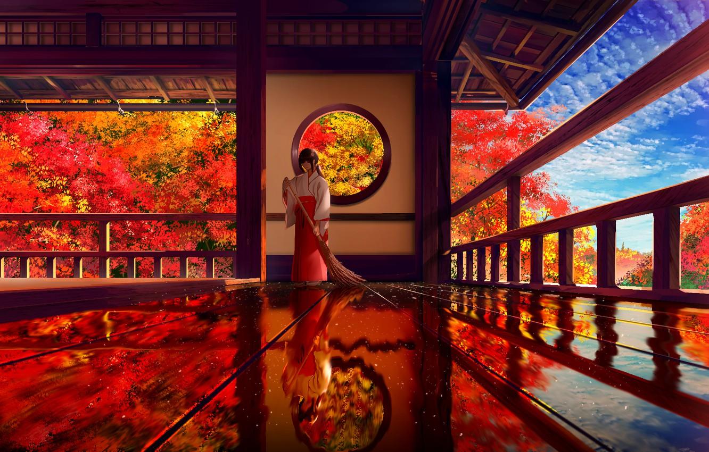 Photo wallpaper autumn, girl, подметает