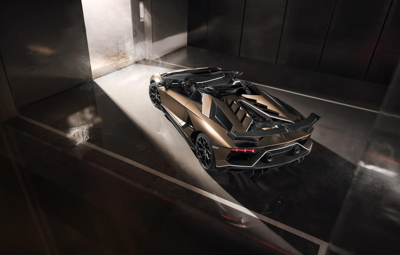 Photo wallpaper machine, light, smoke, Lamborghini, spoiler, sports car, the view from the top, boxes, roadster, Aventador, …