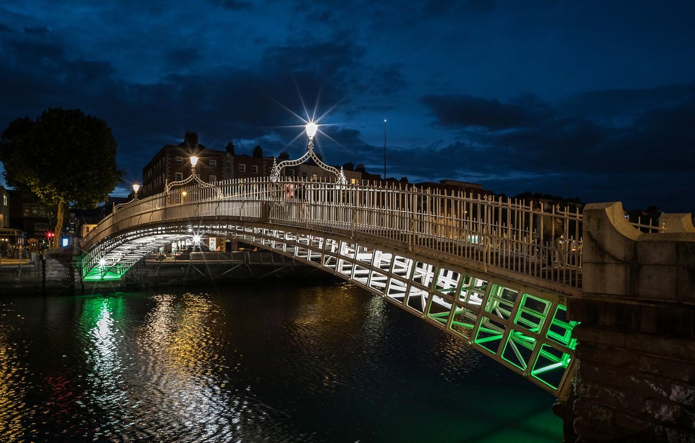 Photo wallpaper bridge, lights, the evening, Ireland, Dublin