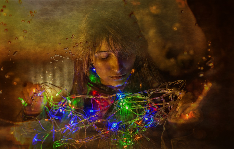 Photo wallpaper lights, girl, beautiful, hair, look, Kide Fotoart