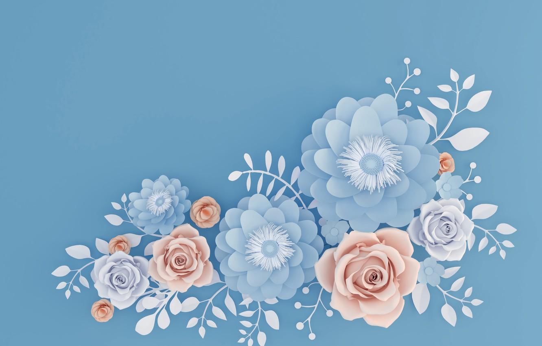 Photo wallpaper flowers, blue, background