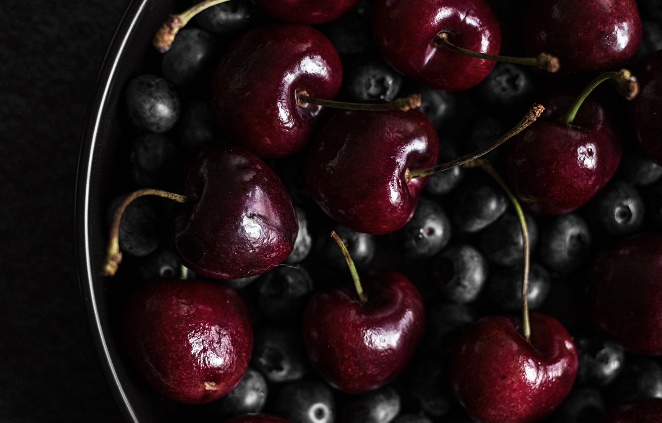 Photo wallpaper cherry, berries, blueberries