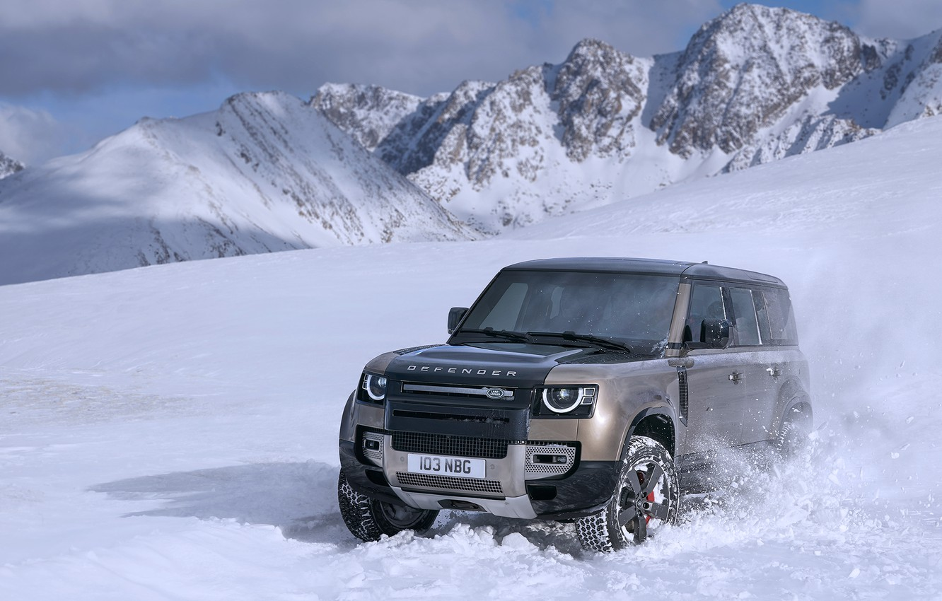 Photo wallpaper winter, mountains, Land Rover, Defender