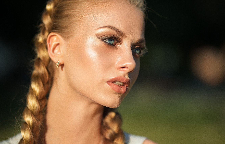 Photo wallpaper the sun, close-up, face, model, portrait, makeup, piercing, hairstyle, blonde, braids, beauty, bokeh, Karina, Dmitry …