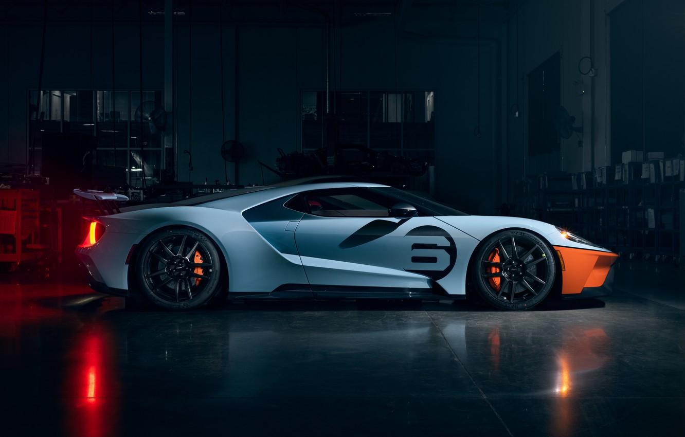 Photo wallpaper Ford, Ford, supercar, Ford GT, supercar, 2020, Ford GT Gulf Racing Heritage Edition