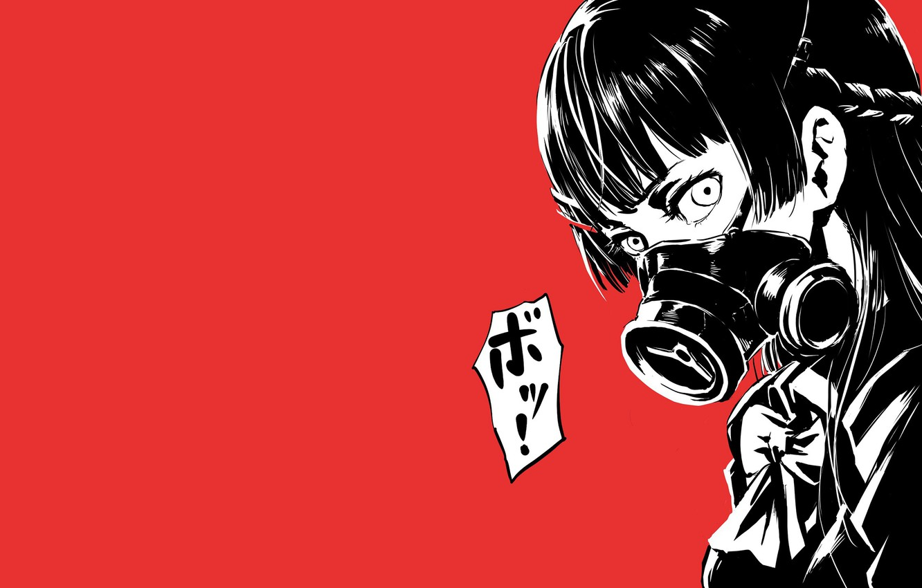Photo wallpaper girl, mask, red background