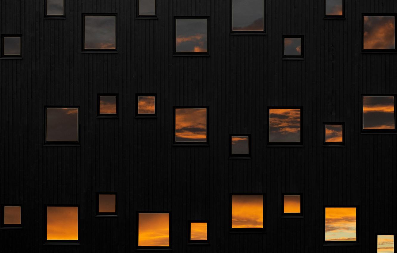 Photo wallpaper the sky, reflection, wall, Windows, windows, wall, sky, reflection