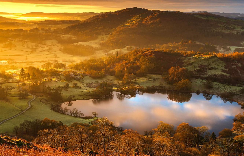 Photo wallpaper England, glow, The lake district, Cumbria, lake Latrigg tarn