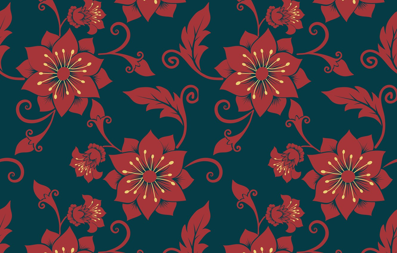 Photo wallpaper flowers, blue, red, background, texture