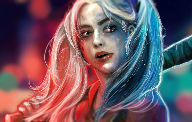 Photo wallpaper Face, DC Comics, Harley Quinn, Suicide Squad