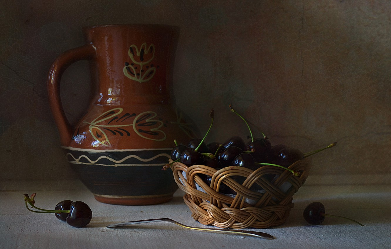 Photo wallpaper table, basket, dishes, pitcher, still life, cherry