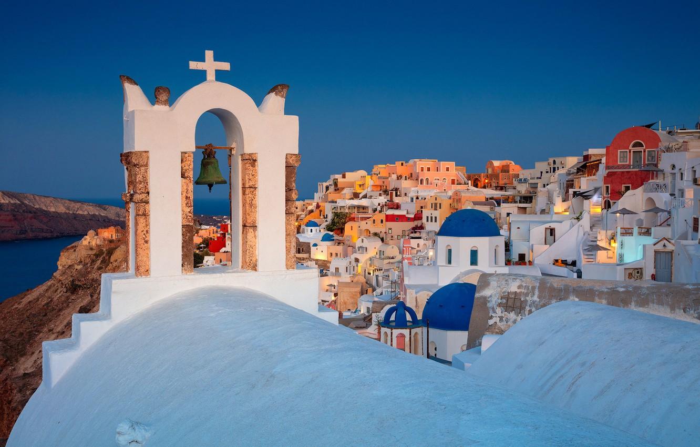 Wallpaper Building Home Santorini Greece Church Bell