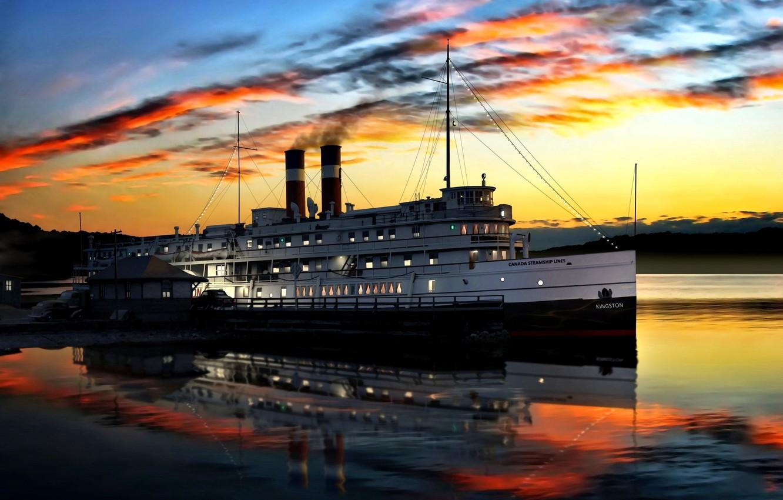 Photo wallpaper steamer, Passenger, Sunset, ''Kingston'', Canada Steamship Lines
