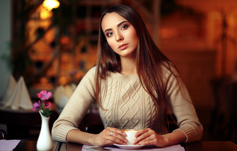 Photo wallpaper look, girl, hair, brown hair, Evgeniy Bulatov, Dasha K