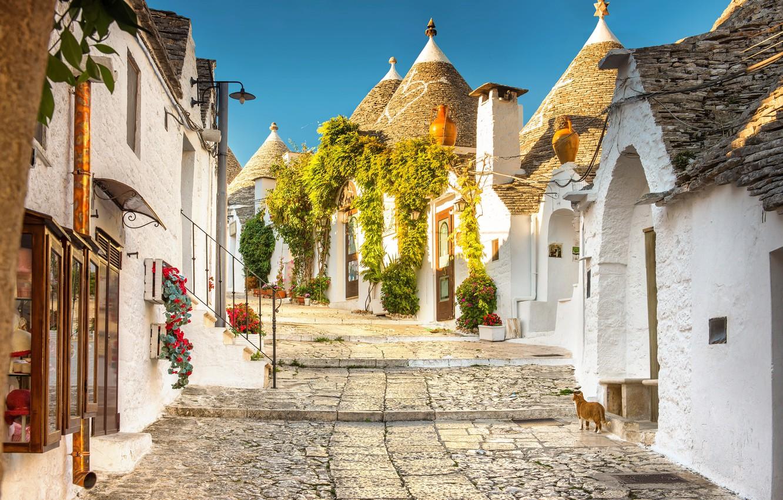 Photo wallpaper street, home, Italy, town, municipality, Alberobello, Trulli