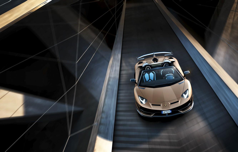 Photo wallpaper machine, movement, Lamborghini, sports car, the view from the top, roadster, Aventador, SVJ