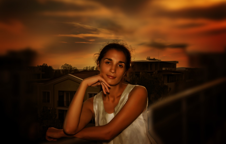 Photo wallpaper girl, sky, beautiful, brunette, look, Nargis, Kide FotoArt