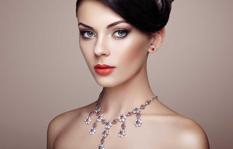 Photo wallpaper girl, style, model, makeup, hairstyle, necklace, Oleg Gekman