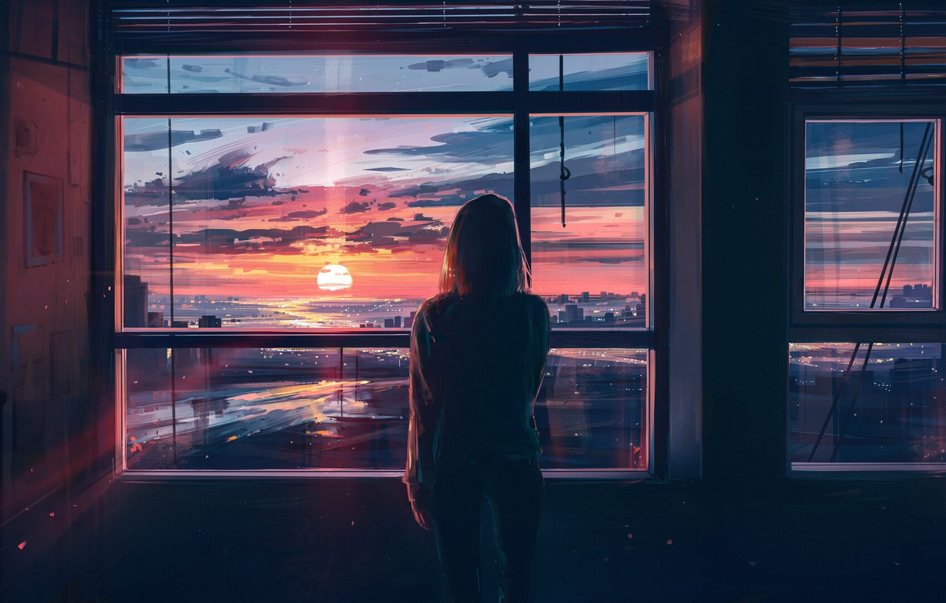 Photo wallpaper girl, sunset, the city, room, back, view, Windows, art