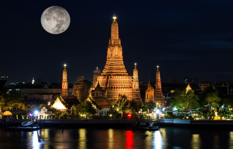 Photo wallpaper night, lights, the moon, Thailand, temple, Bangkok, Wat Arun