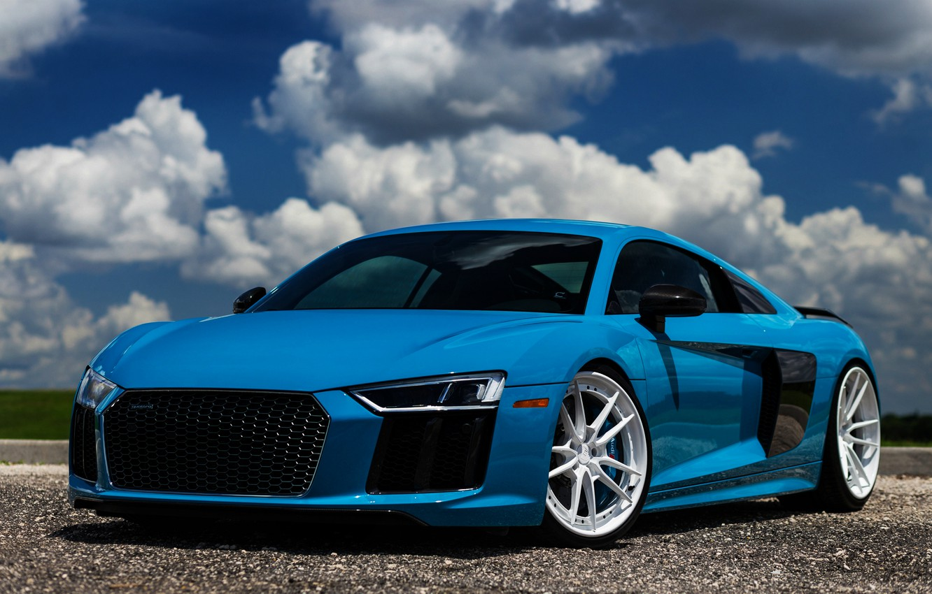 Photo wallpaper Audi, Audi R8, tuning, supercars, german cars, 2018 cars, blue R8, the color of the …