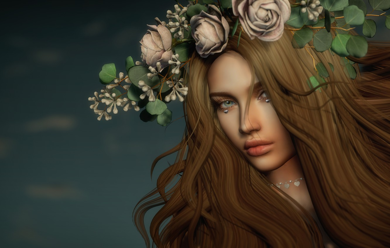 Photo wallpaper flowers, face, rendering, Girl