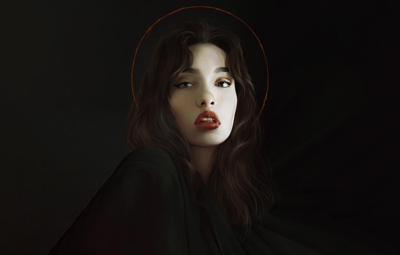 Photo wallpaper Girl, Minimalism, Figure, Look, Lips, Style, Face, Girl, Background, Brunette, Art, Beautiful, Art, Brunette, Beauty, …