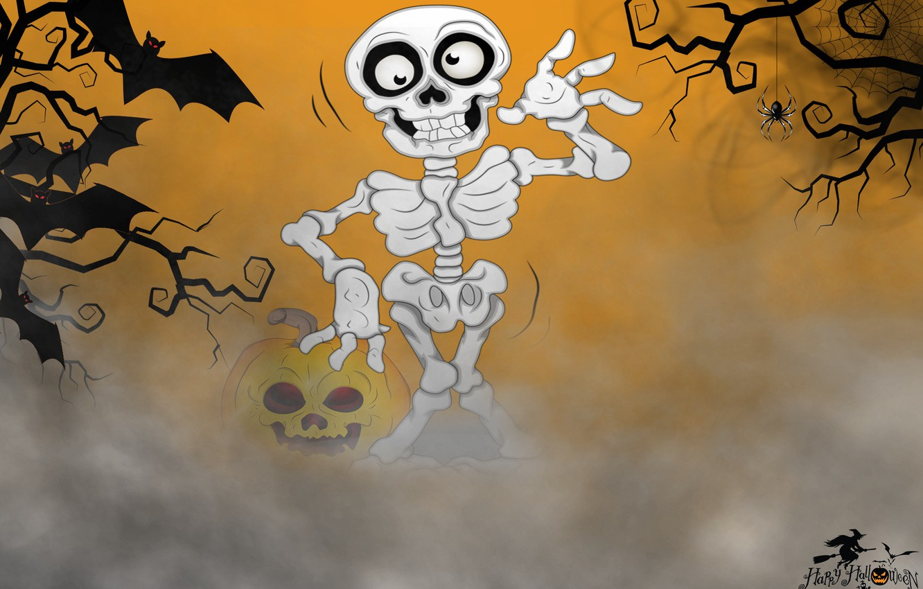 Photo wallpaper background, skeleton, Halloween