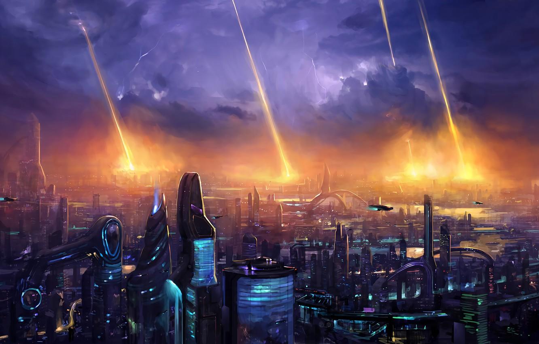 Photo wallpaper lights, fantasy, storm, lightning, night, science fiction, clouds, sci-fi, digital art, buildings, artwork, skyscrapers, fantasy …