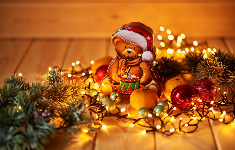 Photo wallpaper holiday, toy, new year, bear, figure, decor, Garland