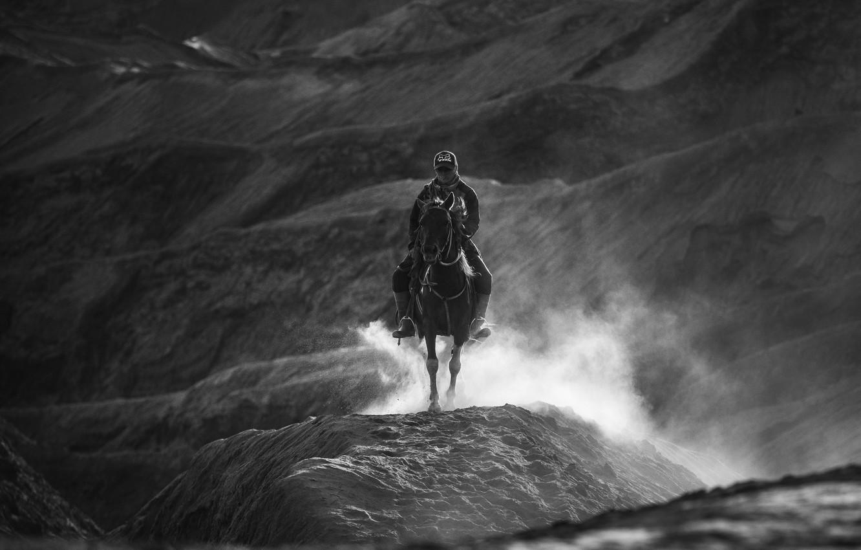 Photo wallpaper hills, horse, rider, black and white photo