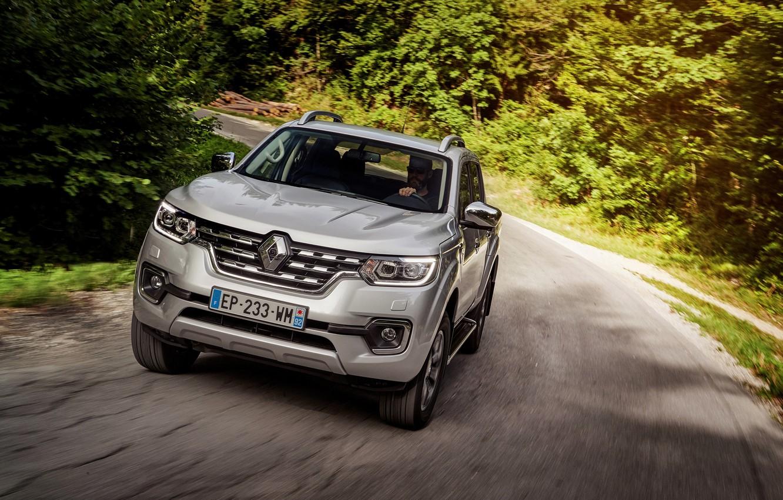 Photo wallpaper forest, turn, Renault, pickup, 4x4, 2017, Alaskan, gray-silver