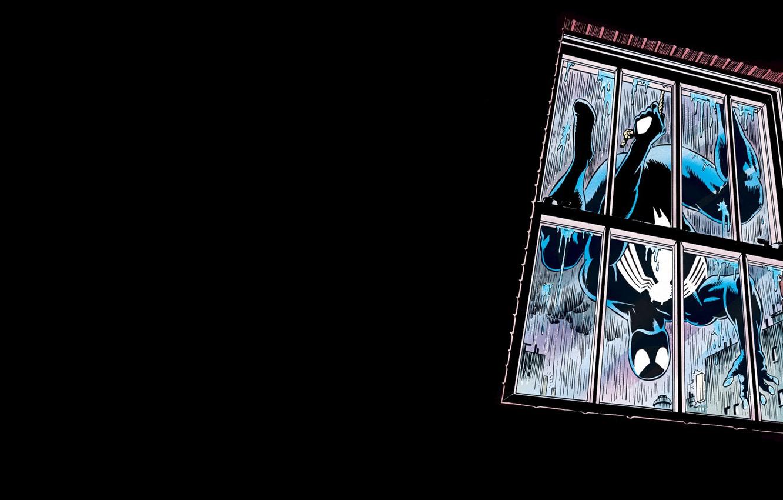 Photo wallpaper rain, comics, window, venom, spider man, black suit