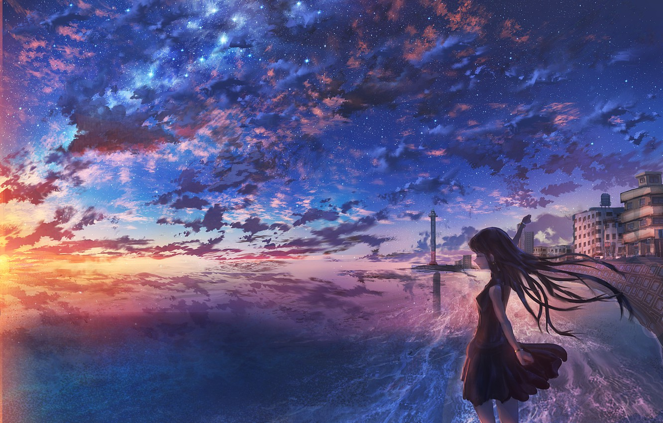 Photo wallpaper the sky, girl, clouds