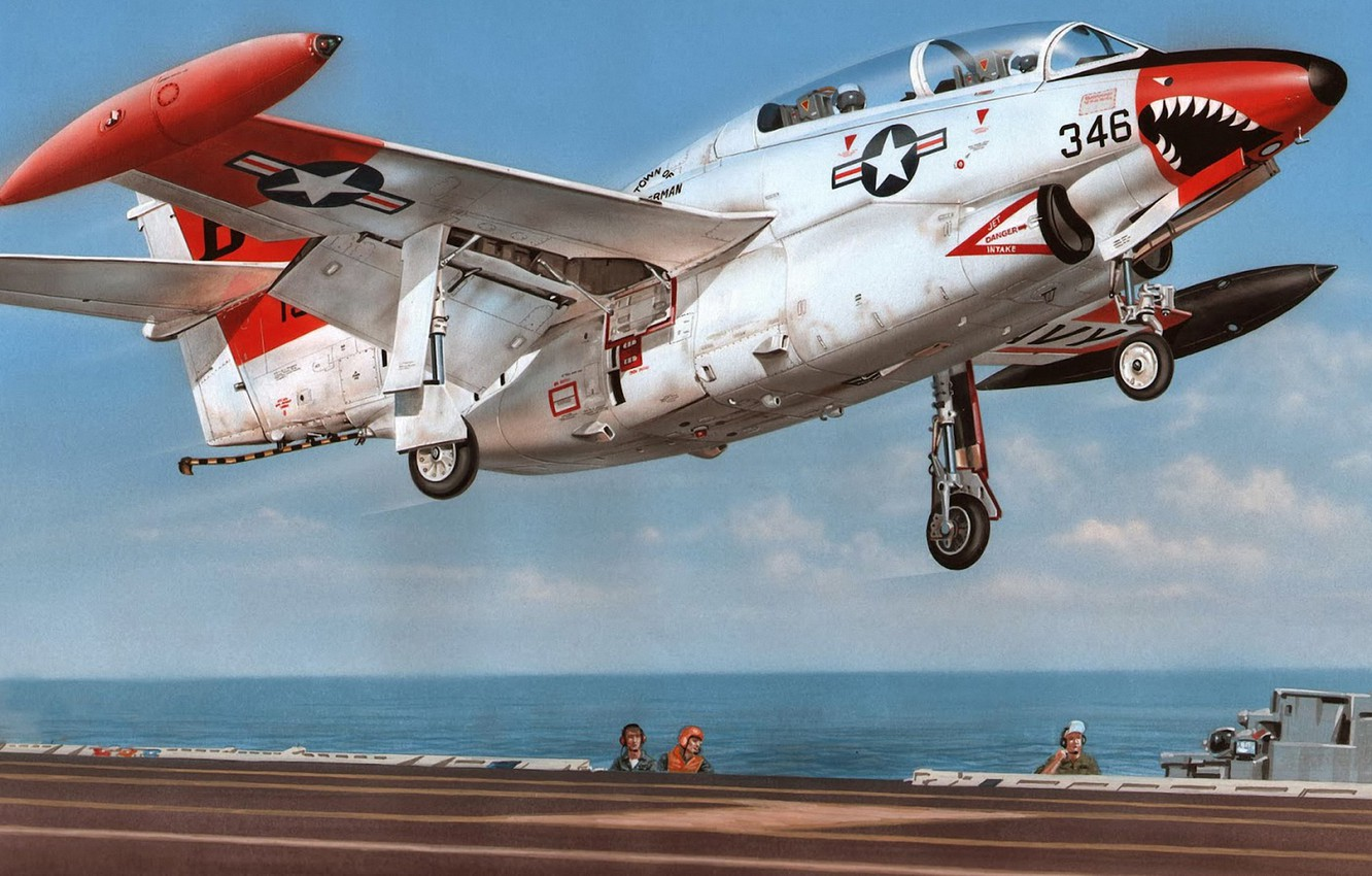 Photo wallpaper North American, T-2, Buckeye, Naval forces of the United States, training aircraft with a mid-wing