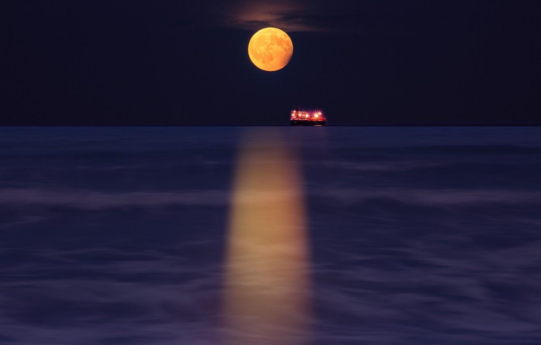 Photo wallpaper lights, moon, sea, ocean, nature, water, night, moonlight, ship, reflection, miscellaneous