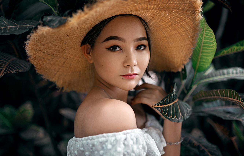 Photo wallpaper look, leaves, nature, model, portrait, hat, makeup, brunette, hairstyle, topic, Asian, in white, bokeh, Aleksandr …