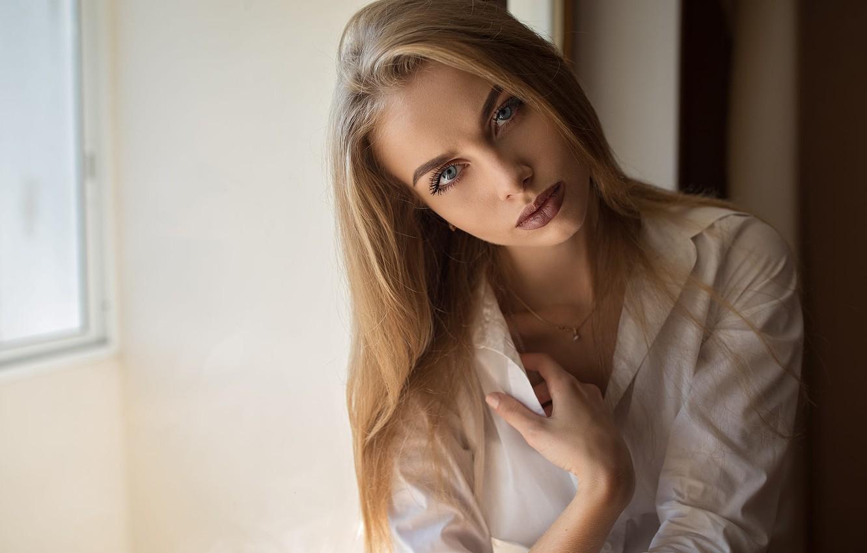 Photo wallpaper girl, brown hair, photo, photographer, blue eyes, model, lips, shirt, portrait, mouth, Karina, red lipstick, …