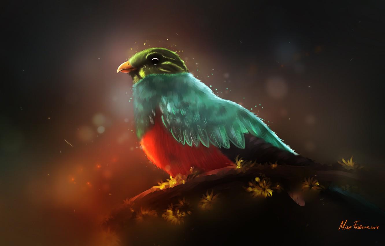 Photo wallpaper Figure, Bird, Feathers, Art, Illustration, Environments, Mike Fazbear, Autumn bird, by Mike Fazbear