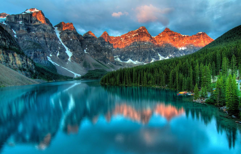 Photo wallpaper landscape, mountains, nature, lake, mountain peaks