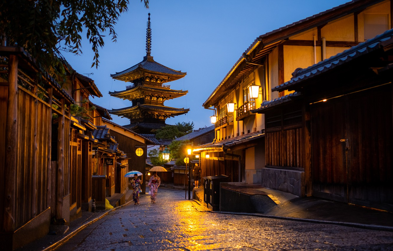 Photo wallpaper the city, street, home, the evening, Japan, lighting, lights, Kyoto, pagoda of Yasaka, Yasaka Pagodа
