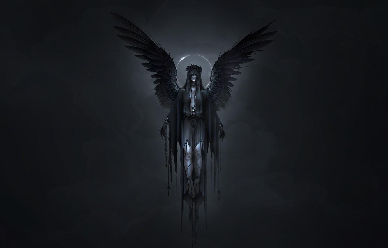 Wallpaper Girl Angel Style Girl Wings Darkness Fantasy Art Art Neville Dsouza Darkness Style Fiction Fiction Angel Wings Images For Desktop Section Fantastika Download