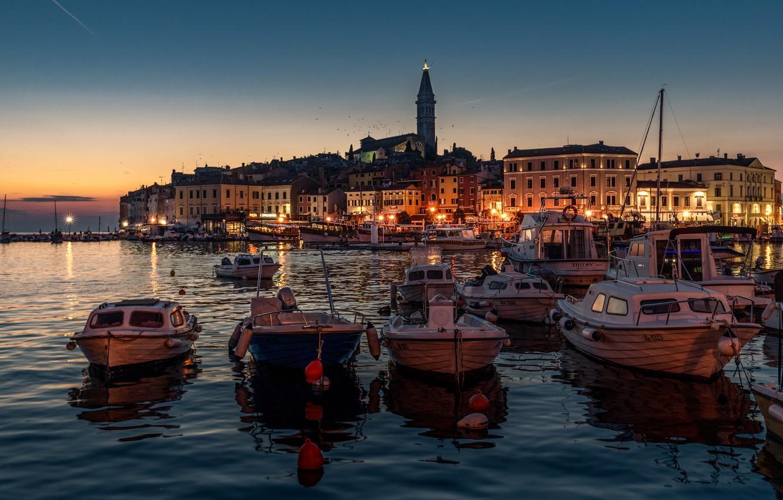 Photo wallpaper sea, night, the city, building, home, boats, lighting, lights, harbour, Croatia, Rovinj