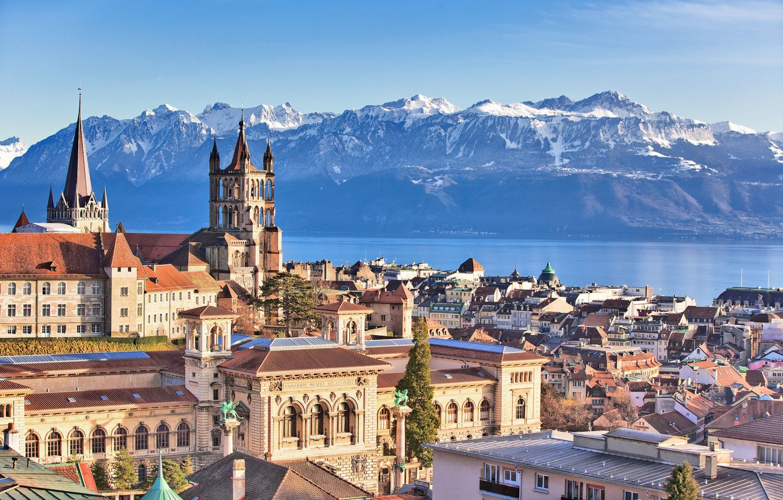 Photo wallpaper mountains, lake, home, Switzerland, Alps, Lausanne